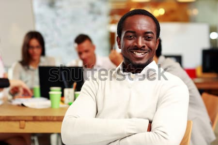 Portrait pensive affaires bras pliées séance Photo stock © deandrobot