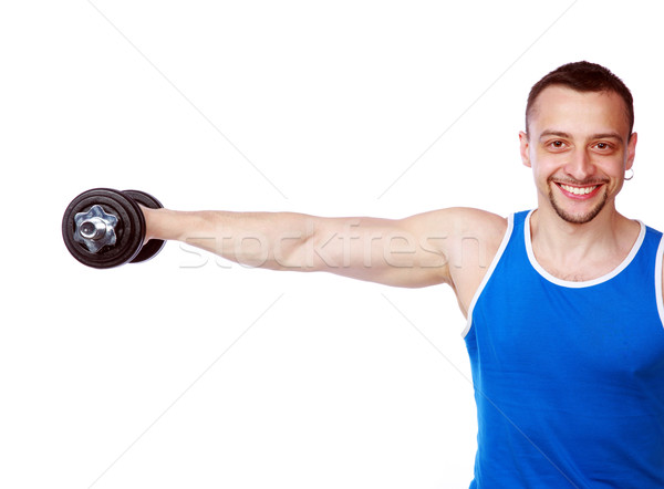 Happy man working out with dumbbells on white background Stock photo © deandrobot
