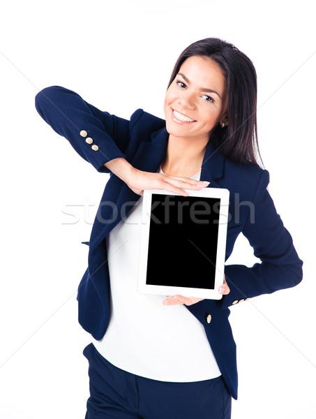 деловая женщина экране счастливым изолированный Сток-фото © deandrobot