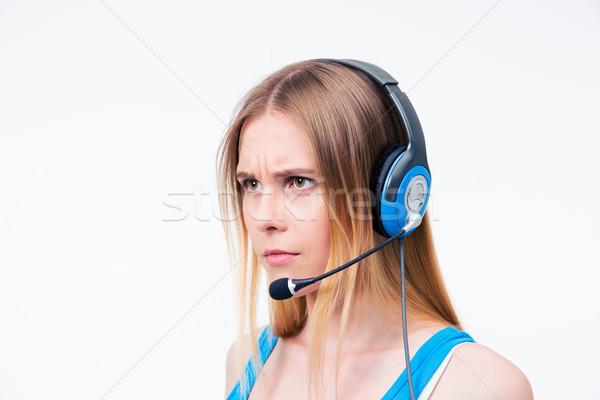怒っ 若い女性 演算子 ヘッド アシスタント 孤立した ストックフォト © deandrobot