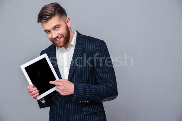 Szczęśliwy biznesmen ekranu portret Zdjęcia stock © deandrobot