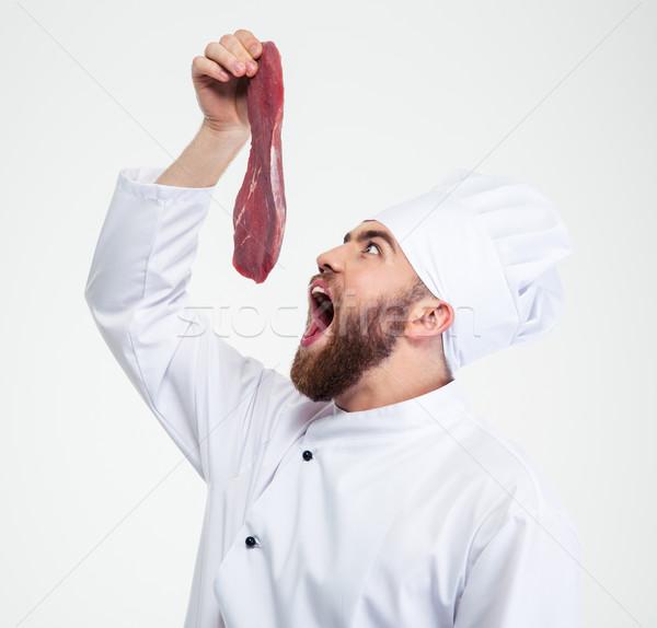Engraçado chef cozinhar leitura comer fresco Foto stock © deandrobot