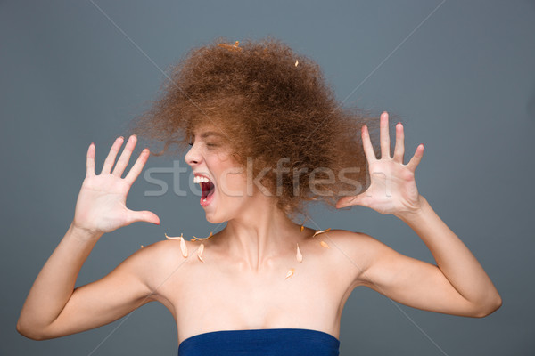 Hysterical excited curly woman sreaming and shaking her head Stock photo © deandrobot