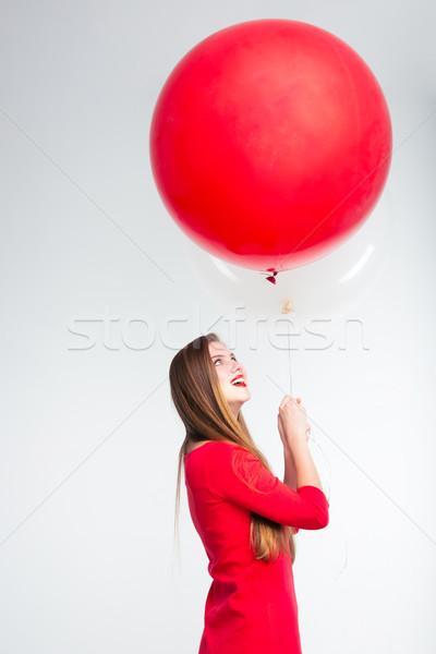 女性 赤いドレス 風船 肖像 ストックフォト © deandrobot
