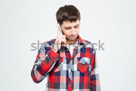 Zdjęcia stock: Przypadkowy · człowiek · mówić · telefonu · odizolowany