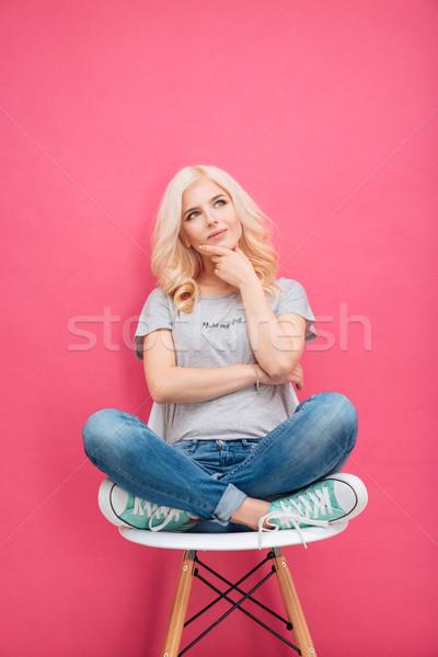 Peinzend zakenman vergadering stoel roze vrouw Stockfoto © deandrobot