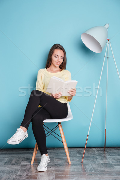 Beautiful smart young woman reading book sitting on the chair Stock photo © deandrobot
