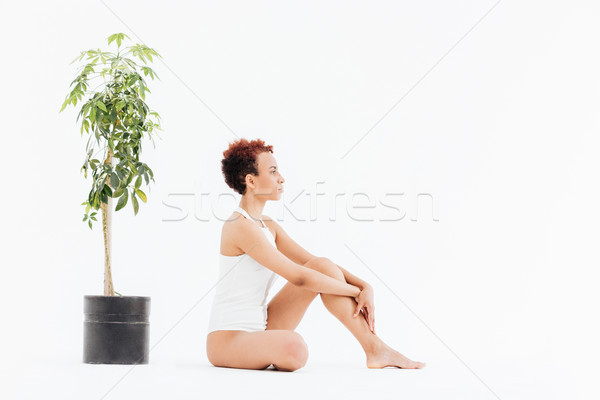 Peaceful african american woman sitting near small tree in pot Stock photo © deandrobot