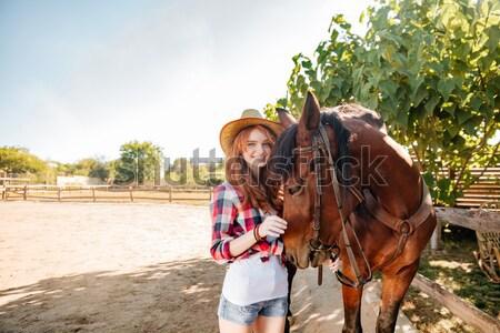 女性 立って 馬 村 美しい ストックフォト © deandrobot