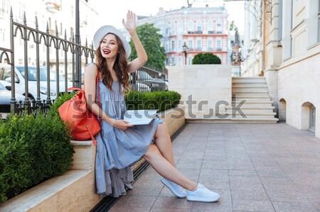 Portré boldog érzéki nő hosszú haj áll Stock fotó © deandrobot