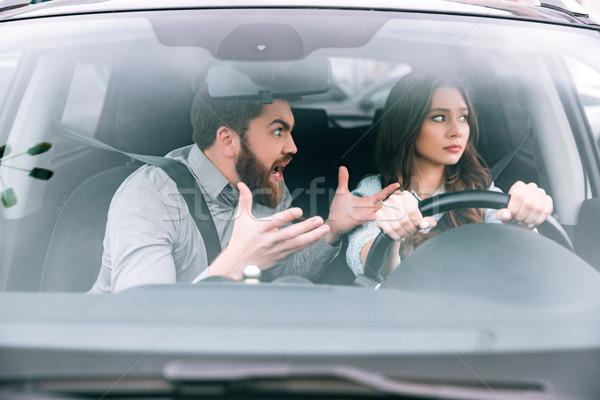ストックフォト: 不幸 · 女性 · 男 · 車 · 少女 · ホイール