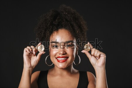 Pretty african american young woman with creative makeup Stock photo © deandrobot