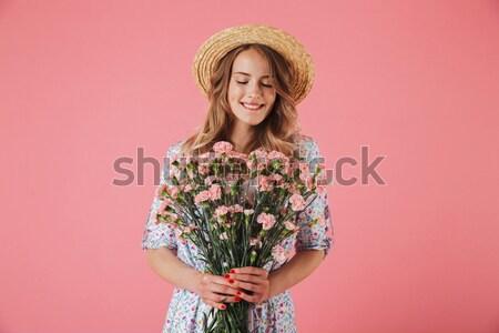 Glücklich jungen Dame stehen isoliert halten Stock foto © deandrobot
