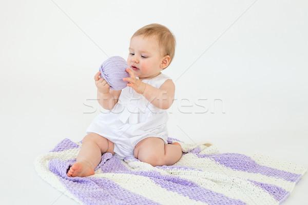 Stockfoto: Weinig · spelen · bal · foto · cute