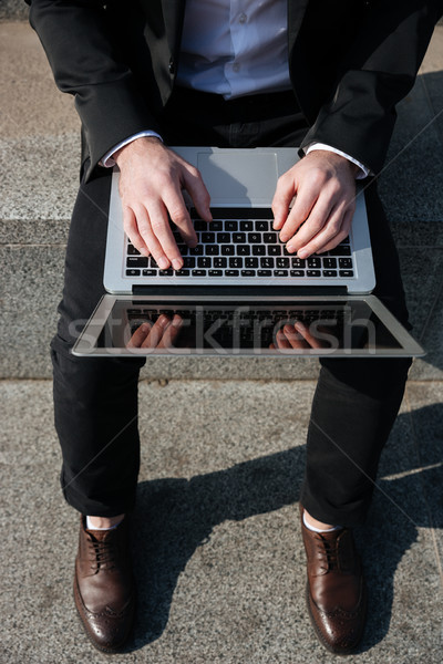 Close up of blank screen of laptop Stock photo © deandrobot