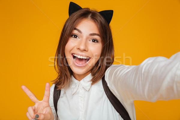 Foto stock: Retrato · alegre · colegiala · uniforme