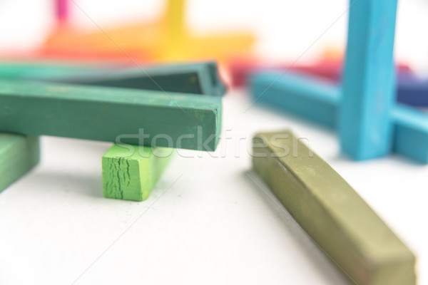 Macro of colored pastel chalks in a chaotic manner Stock photo © deandrobot