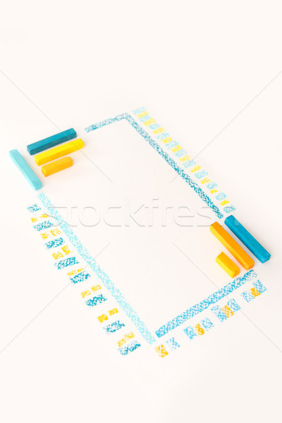 Photo of color chalk drawing as striped line  Stock photo © deandrobot