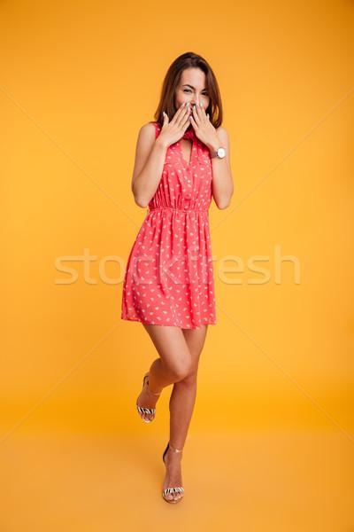ショット かなり ブルネット 少女 赤いドレス ストックフォト © deandrobot