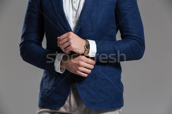 男 ジャケット ポーズ 立って 孤立した ストックフォト © deandrobot
