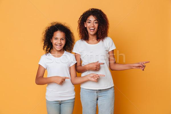 портрет два улыбаясь афро американский Сток-фото © deandrobot