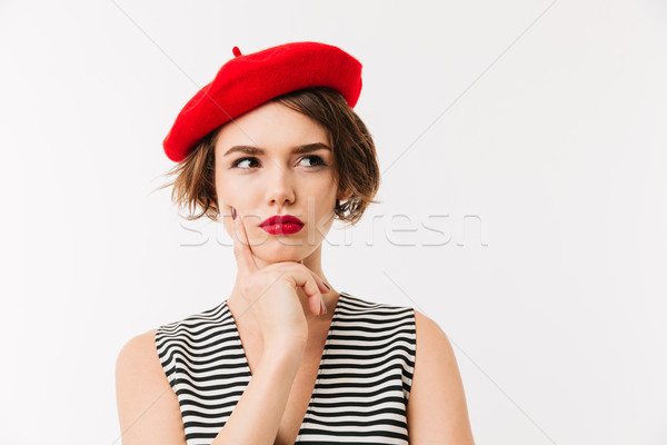 Portrait pensive femme rouge béret Photo stock © deandrobot