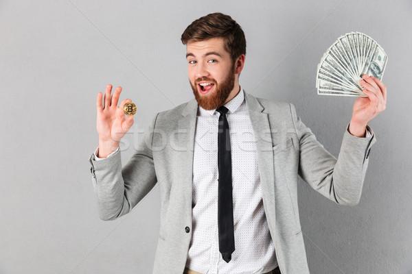 Portret uśmiechnięty biznesmen bitcoin Zdjęcia stock © deandrobot