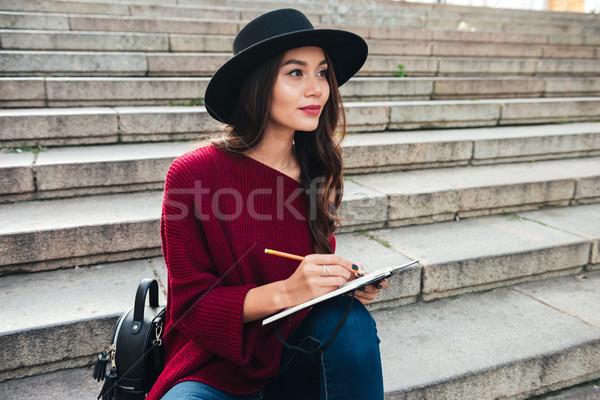 Portrait of a pensive young asian woman Stock photo © deandrobot