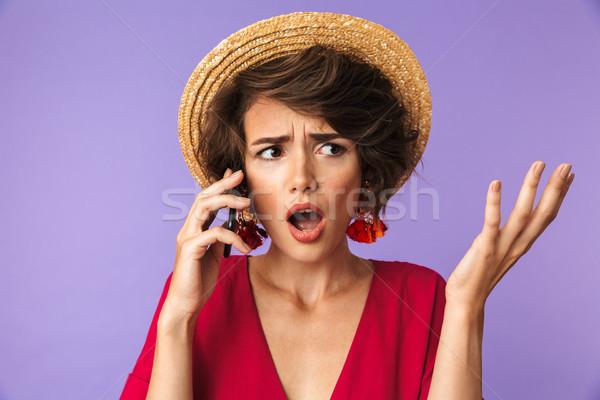 Zavart csinos barna hajú nő ruha szalmakalap Stock fotó © deandrobot