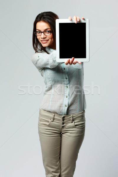 Młodych szczęśliwy kobieta interesu ekranu Zdjęcia stock © deandrobot