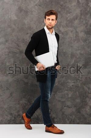 Portret gelukkig zakenman bril grijs business Stockfoto © deandrobot
