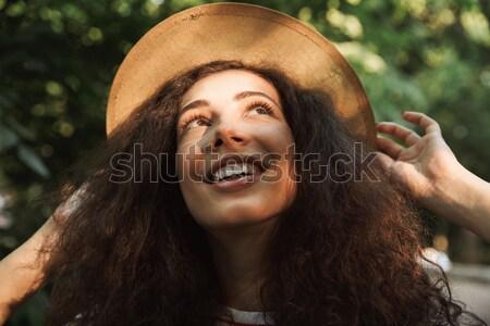 Foto stock: Retrato · feliz · bela · mulher · cara · moda