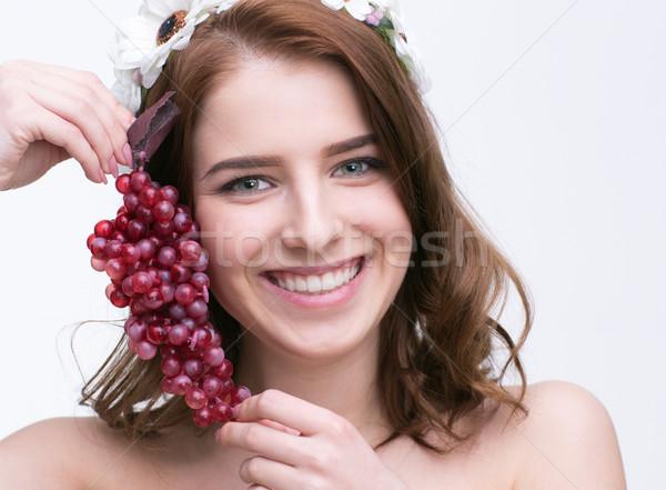 Retrato sorridente bela mulher groselha menina Foto stock © deandrobot