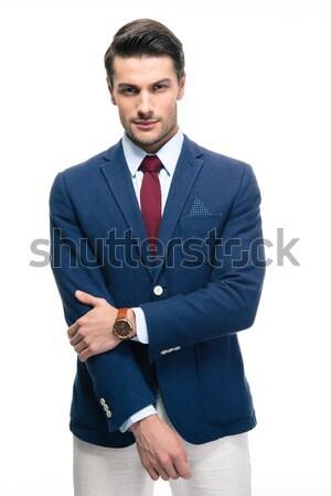 Stockfoto: Portret · zakenman · geïsoleerd · witte · naar · camera