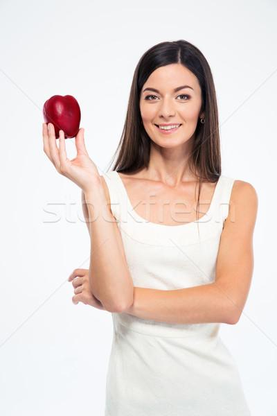 Feliz esbelto mujer manzana aislado Foto stock © deandrobot