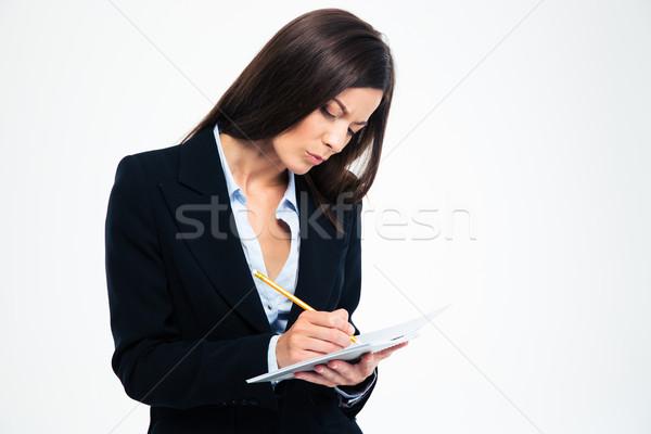 Сток-фото: деловая · женщина · Дать · отмечает · ноутбук · серьезный · изолированный