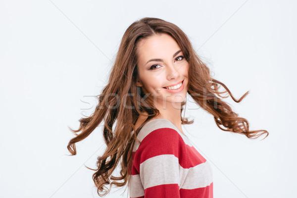 Kadın etrafında bakıyor kamera portre gülen Stok fotoğraf © deandrobot