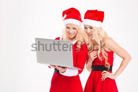 Zusters tweelingen kerstman kostuums hoeden met behulp van laptop Stockfoto © deandrobot