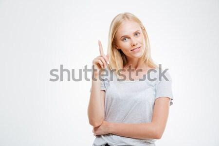 Ernstig mooie blond meisje telefoongesprek Stockfoto © deandrobot