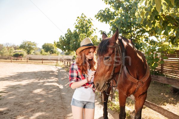 Cute young woman cowgirl taking care and hugging her horse Stock photo © deandrobot