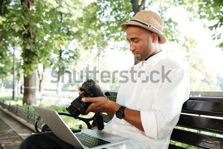 Laptop parque computador internet Foto stock © deandrobot