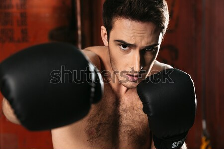 Young concentrated strong boxer training in a gym Stock photo © deandrobot