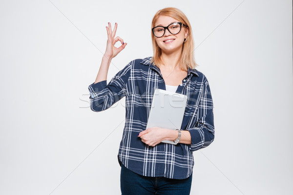 Feliz mulher comprimido okay Foto stock © deandrobot