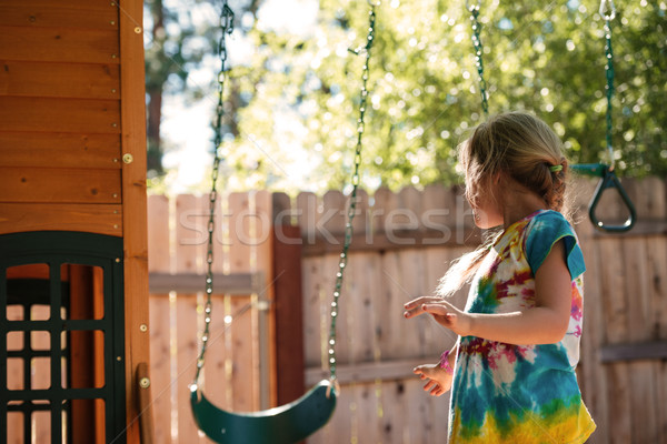 From below image of girl on swing Stock photo © deandrobot