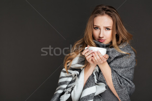 小さな 信じられない 女性 ポーズ 写真 ストックフォト © deandrobot