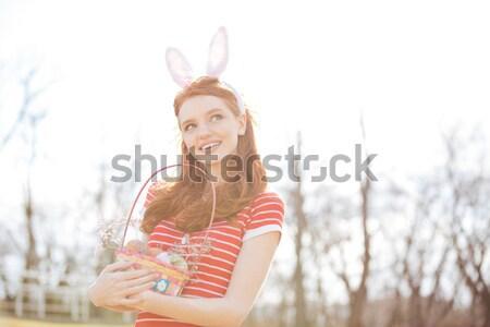 Zdjęcia stock: Szczęśliwy · wesoły · dziewczyna · bunny · kłosie