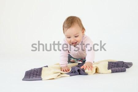 Kislány ül padló kockás fotó izolált Stock fotó © deandrobot
