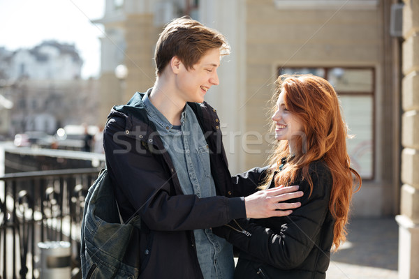 Alegre casal jovem bonitinho estudantes Foto stock © deandrobot