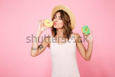 молодые красивая женщина ярко губ макияж Сток-фото © deandrobot