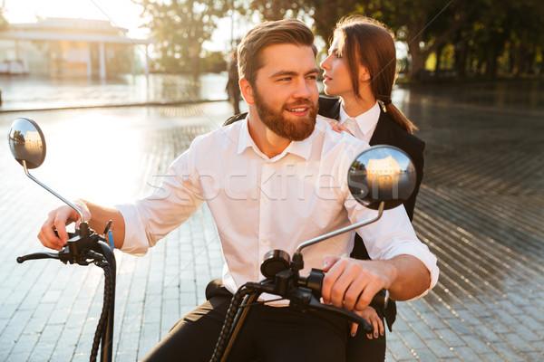 беззаботный бизнеса пару современных мотоцикле парка Сток-фото © deandrobot